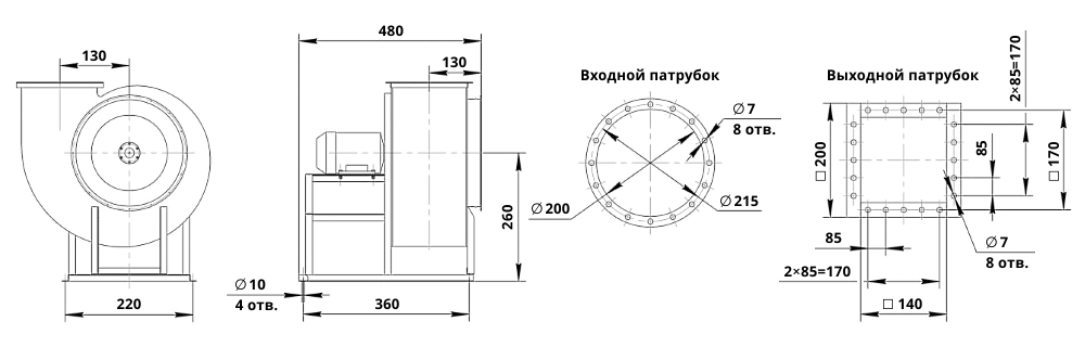Чертеж радиального вентилятора ВЦ 14-46-2 (исполнение 1): габаритные и присоединительные размеры