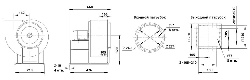Чертеж радиального вентилятора ВЦ 14-46-2,5 (исполнение 1): габаритные и присоединительные размеры