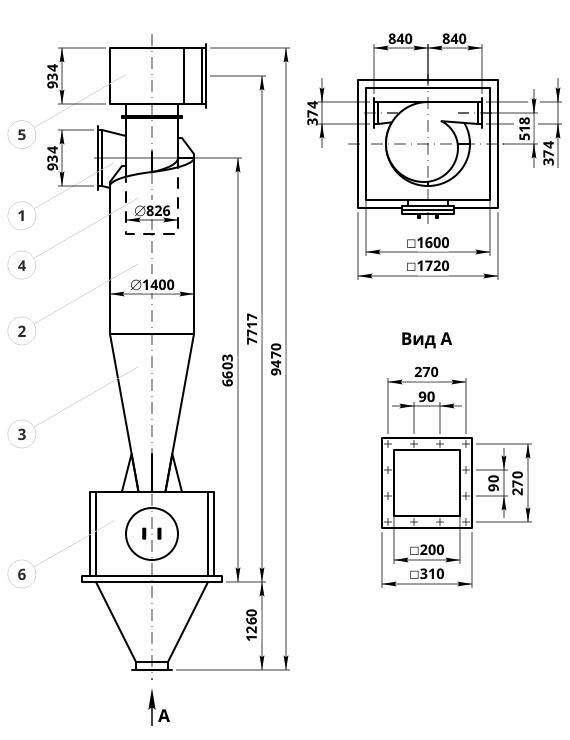 Чертеж циклона ЦН-15-1400-1УП: элементы конструкции и геометрические размеры