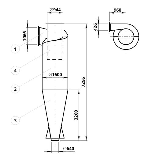Креслення циклона ЦН-15-1600: елементи конструкції і геометричні розміри