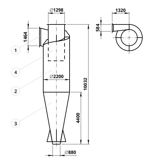 Чертеж циклона ЦН-15-2200: элементы конструкции и геометрические размеры