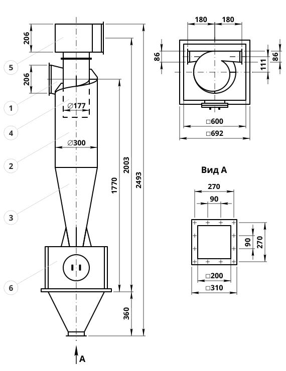 Креслення циклона ЦН-15-300-1УП: елементи конструкції і геометричні розміри