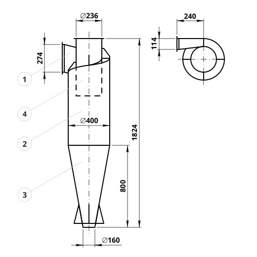 Чертеж циклона ЦН-15-400: элементы конструкции и геометрические размеры