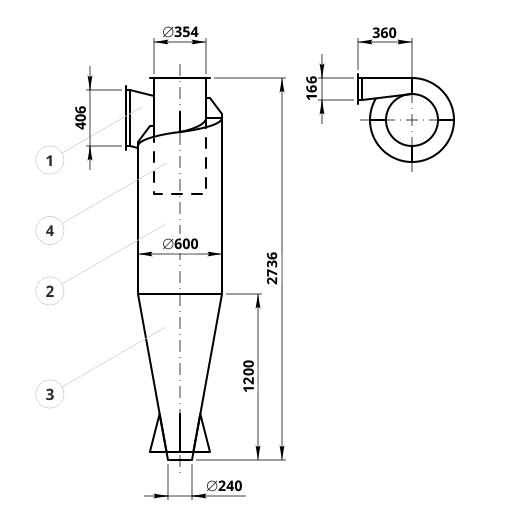 Чертеж циклона ЦН-15-600: элементы конструкции и геометрические размеры