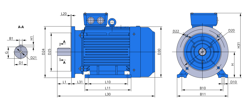 Чертеж: габаритные и присоединительные размеры электродвигателя АИР