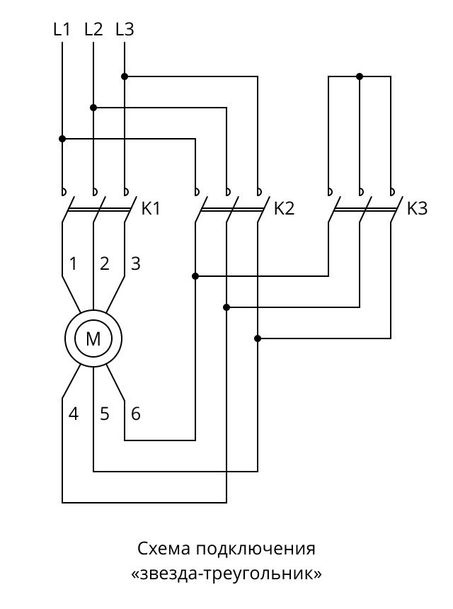"""Схема """"звезда-треугольник"""" для подключения трехфазного электродвигателя к сети 380 В"""